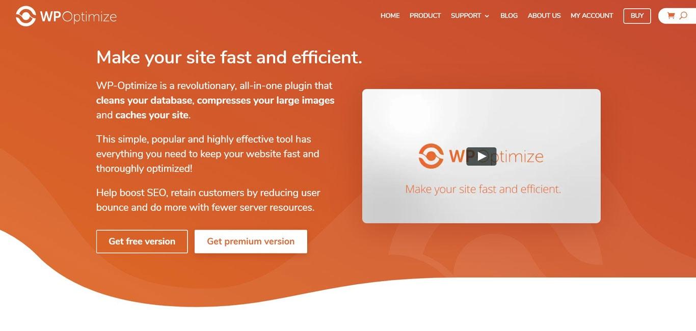 WP optimize plugin site
