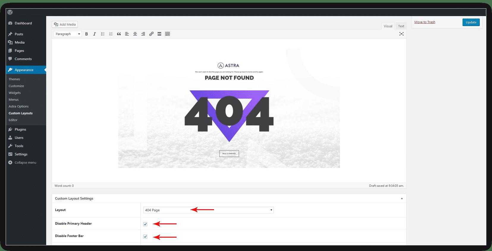 Custom 404 Page   Astra