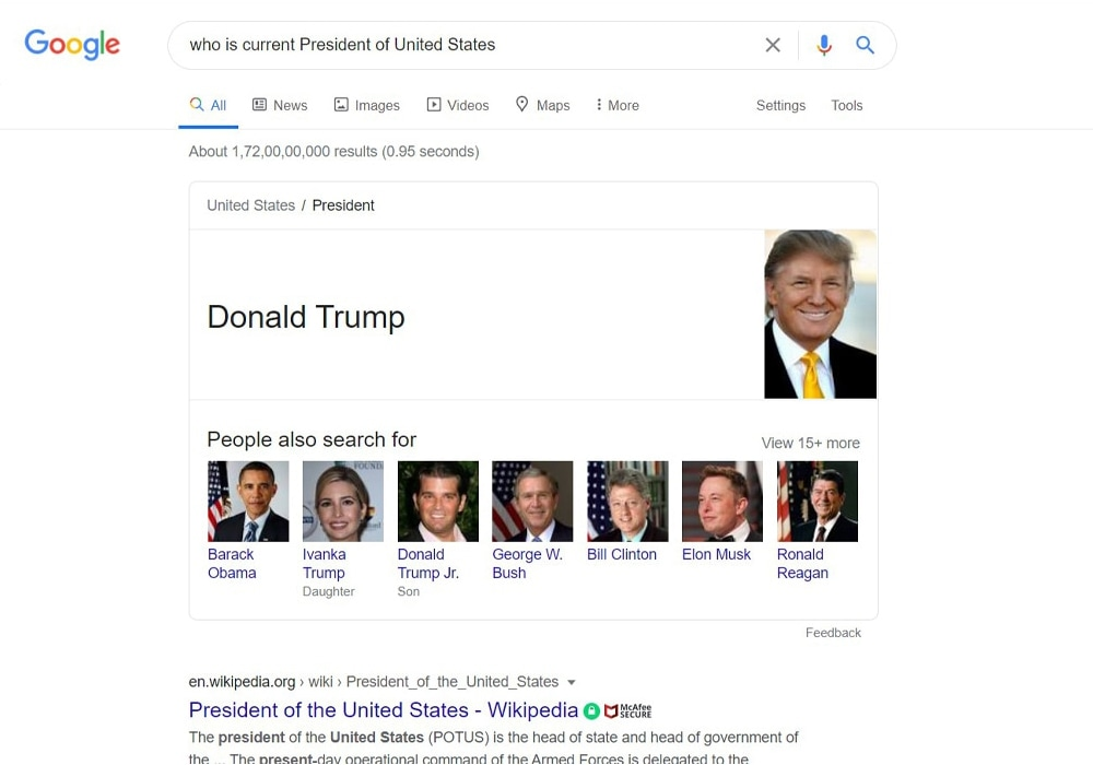 Voice search result for president of  USA