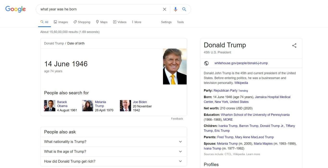 Voice search result for Trump birthdate