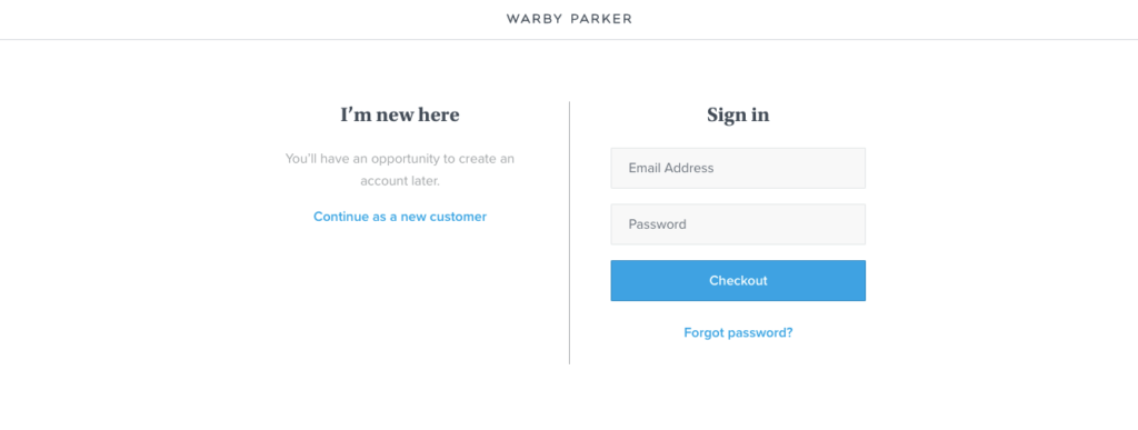 Warby Parker Checkout Options