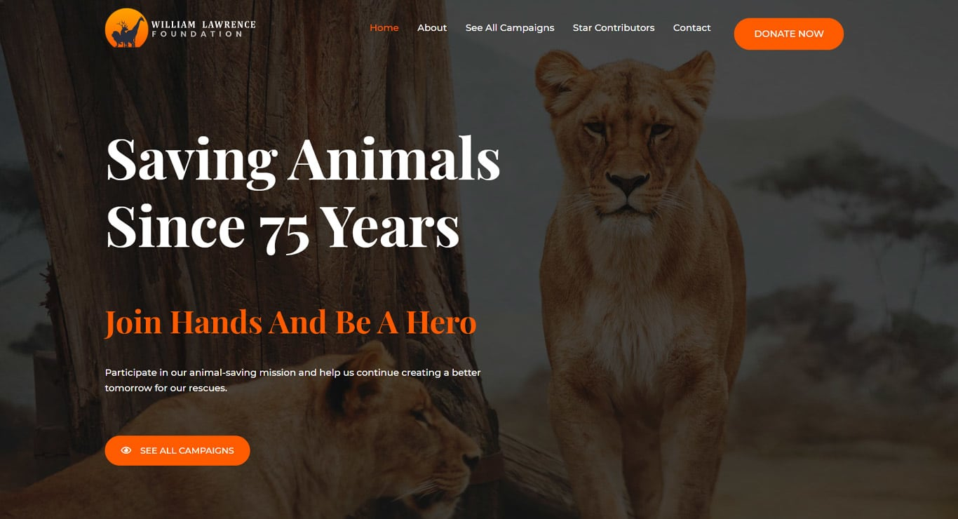 Animal welfare elementor site