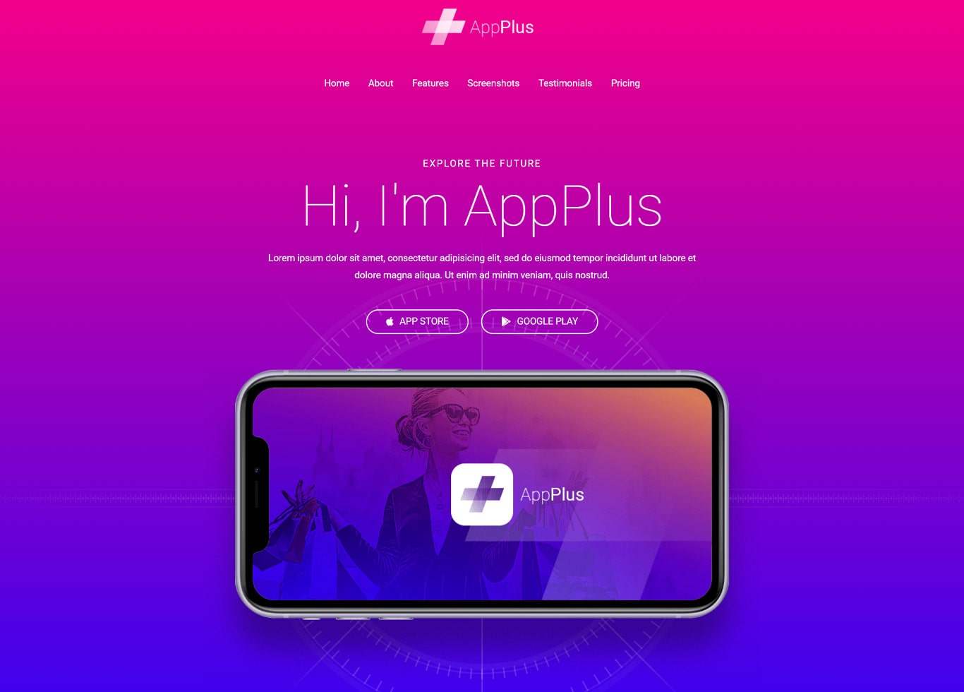 App landing page elementor site