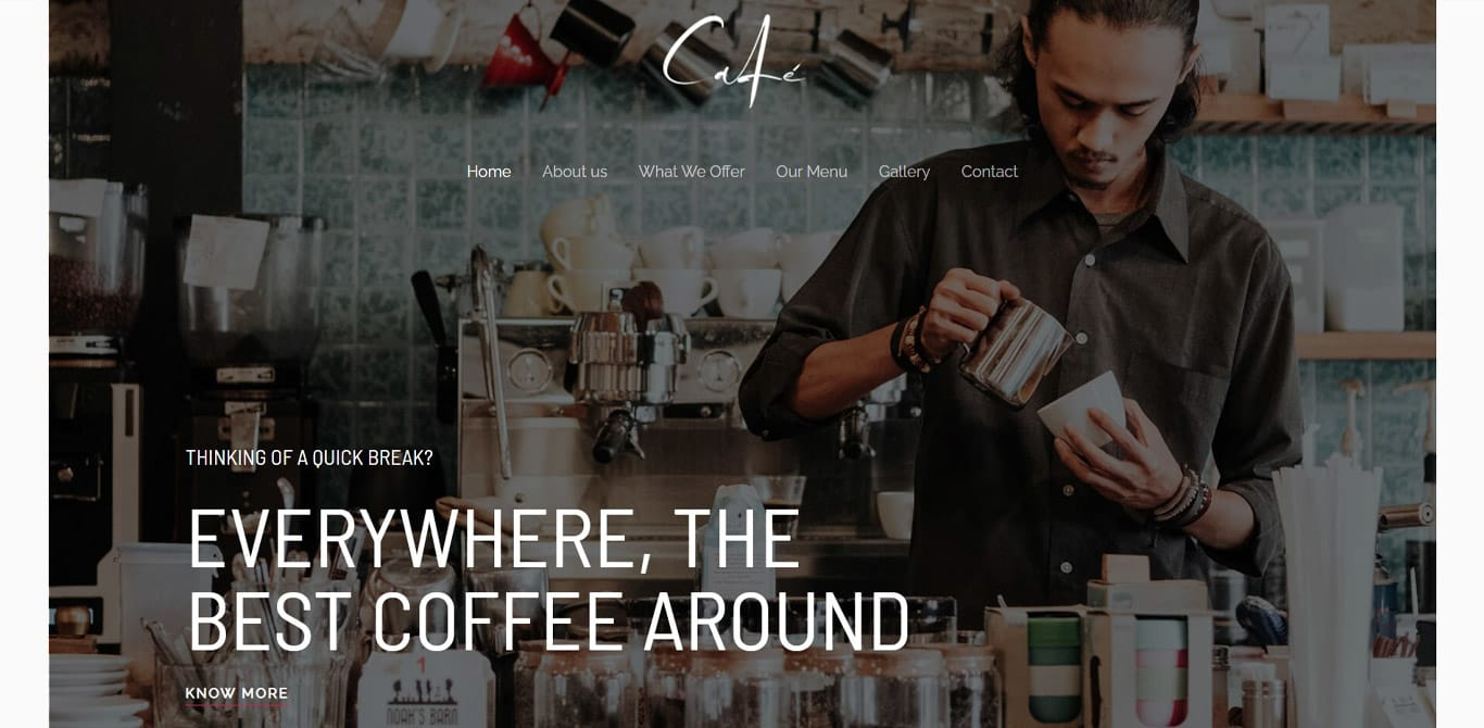 Cafe elementor site
