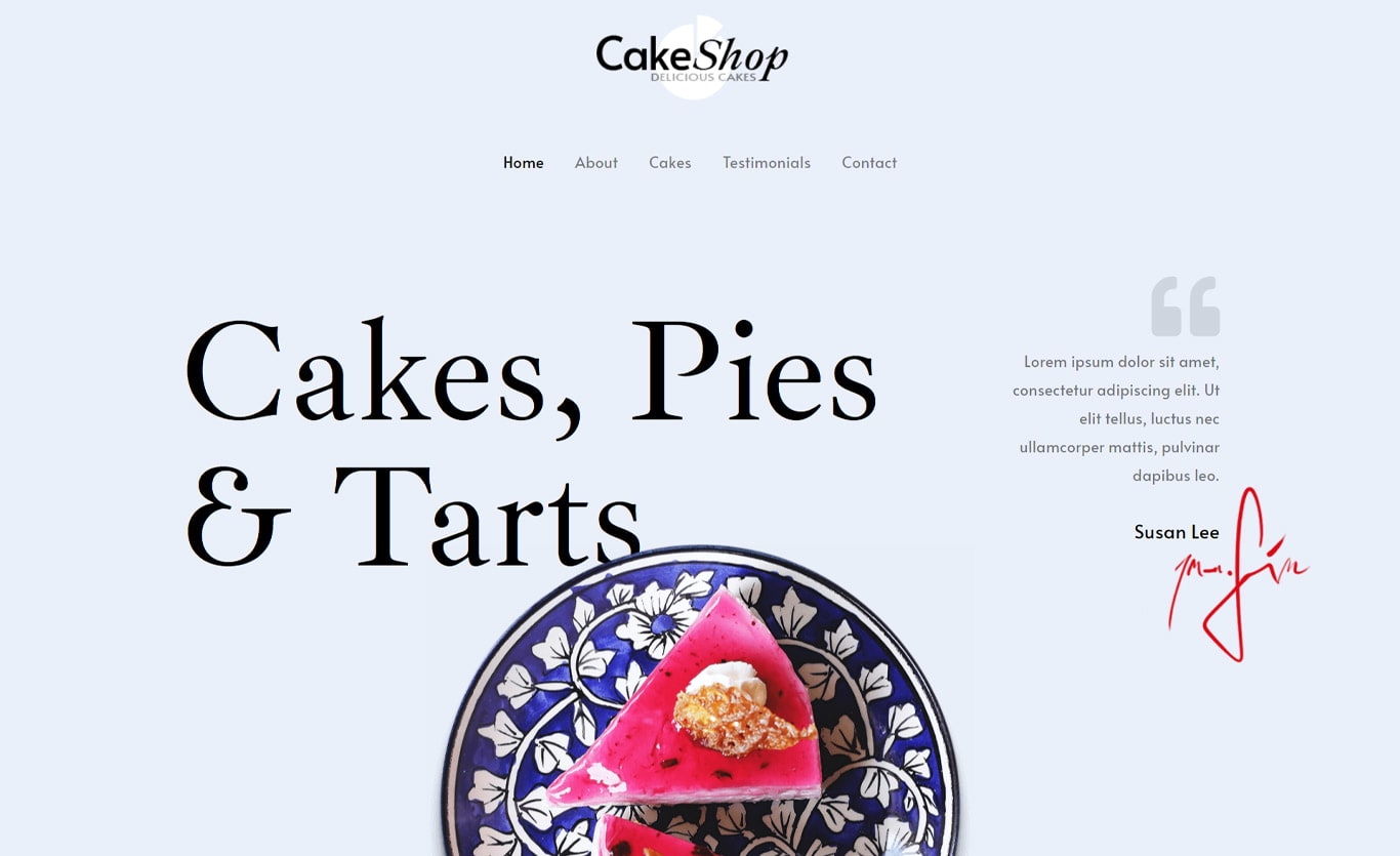Cake shop elementor site