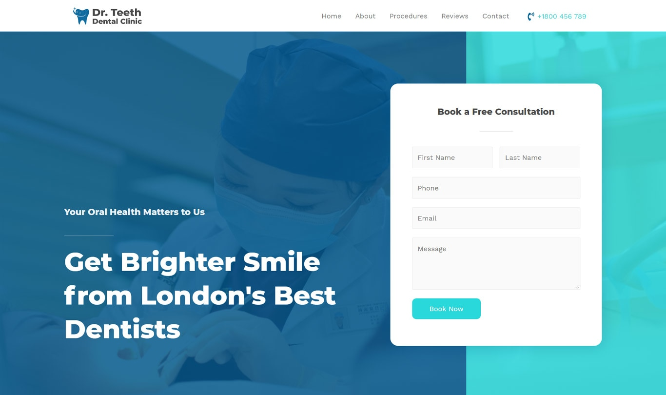 Dentist clinic elementor site