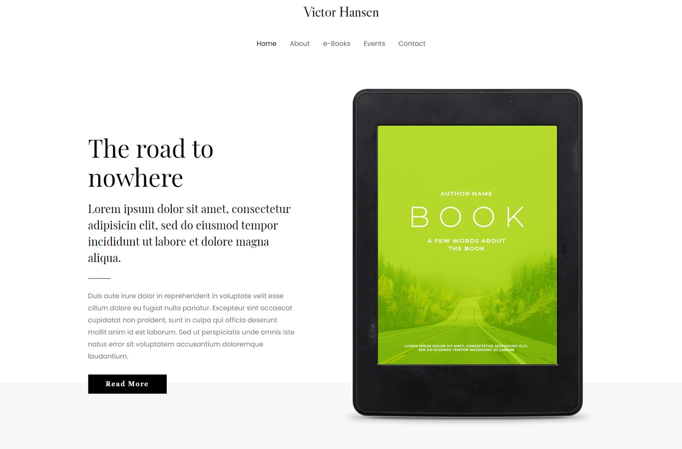 eBook author elementor site