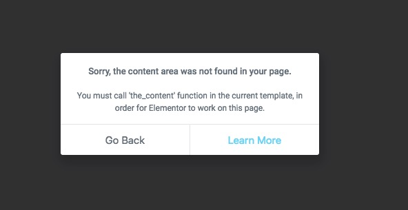 Elementor Error: The Content Area Was Not Found in Your Page | Astra