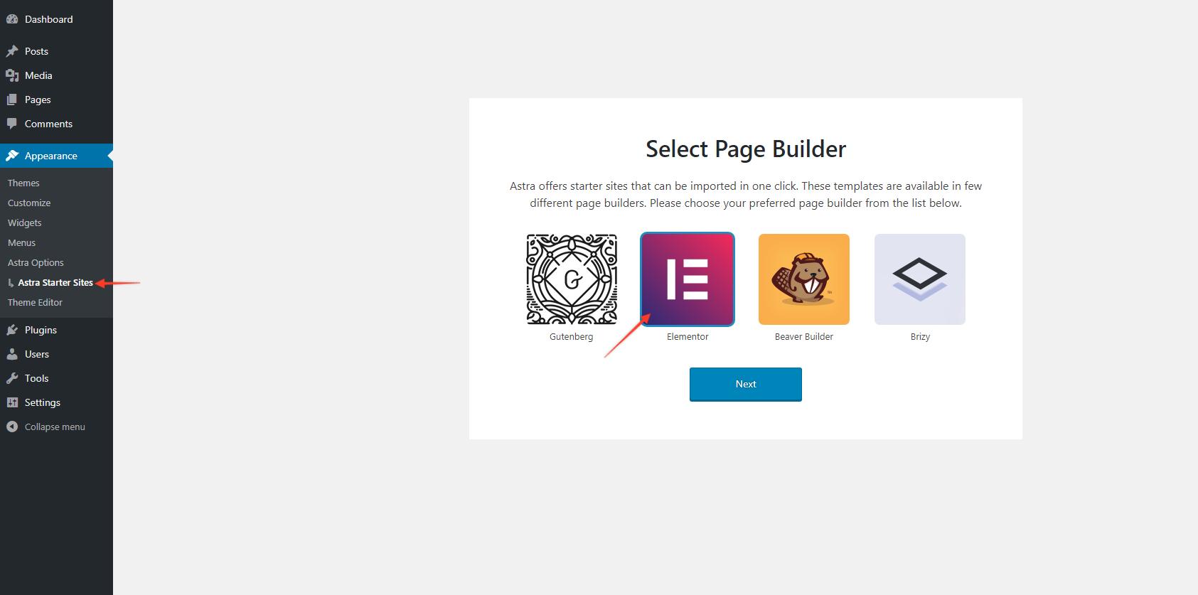 Выберите Elementor Page Builder