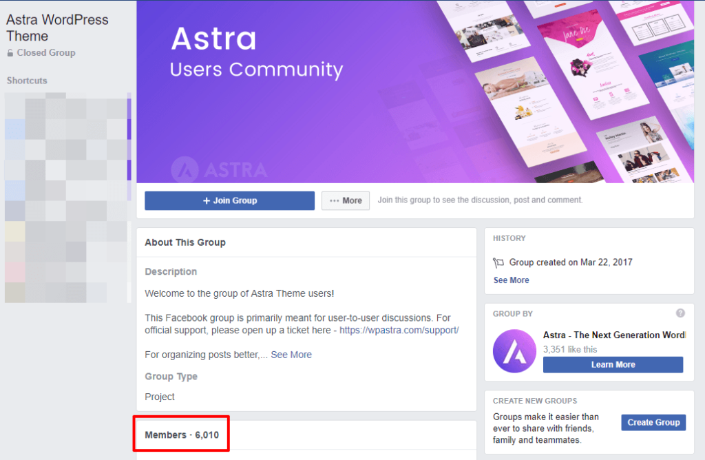 astra facebook community