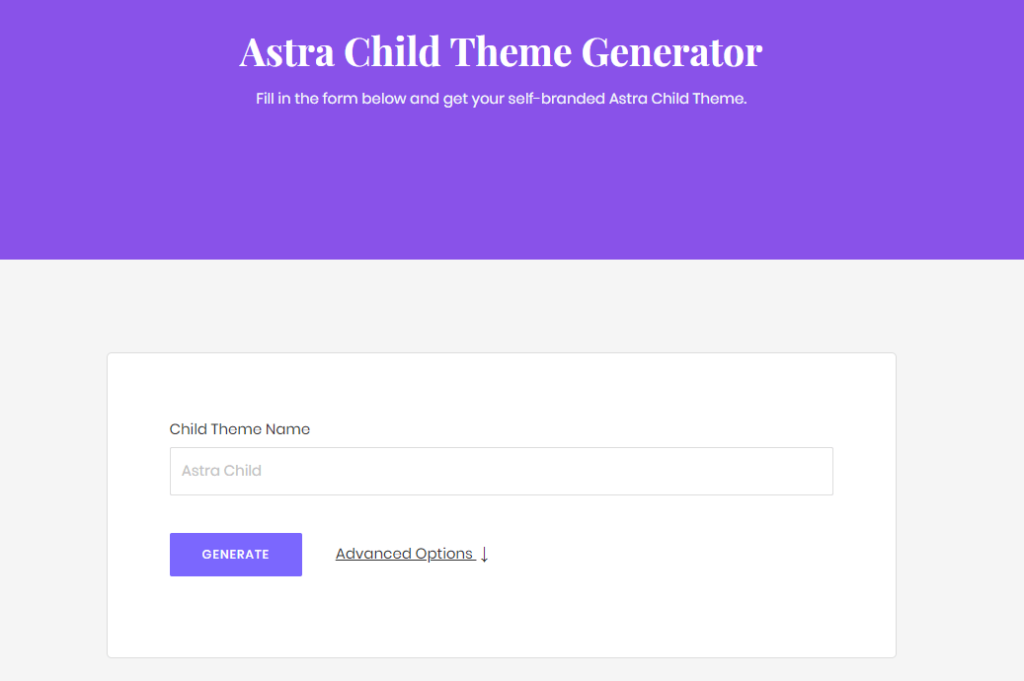 wordpress child theme generator