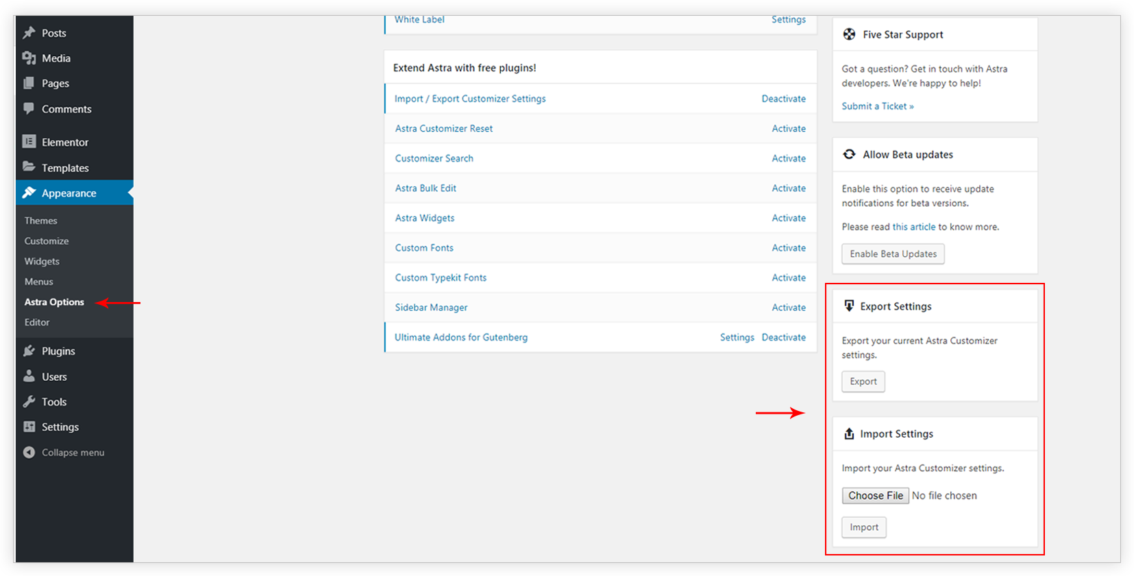 Import / Export Astra Customizer Settings | Astra