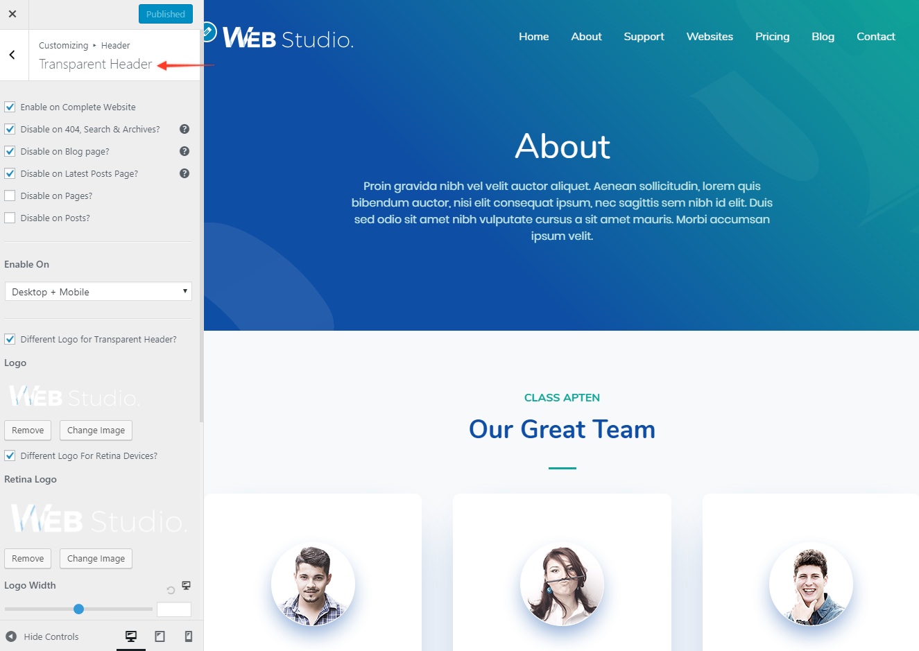 Transparent Header in Astra Theme | Astra