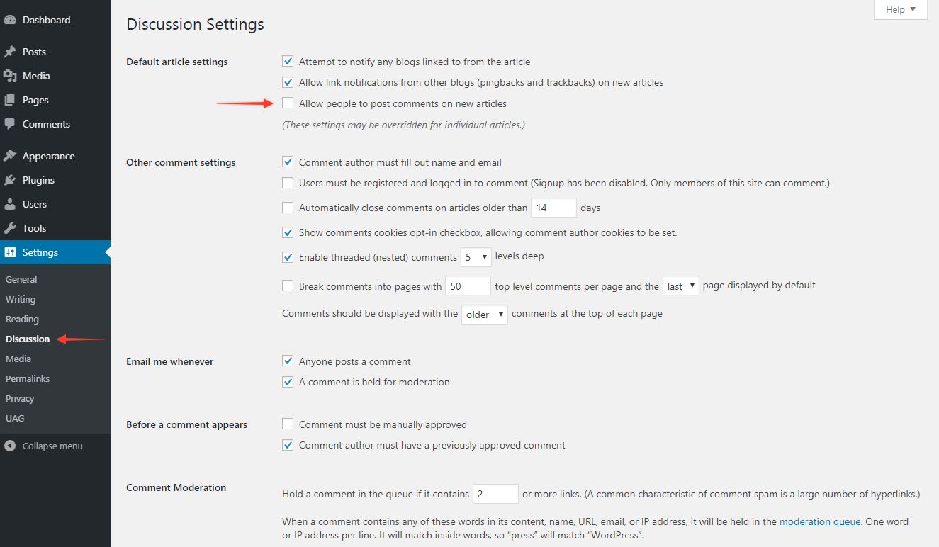 How to Disable Comments on WordPress website?   Astra