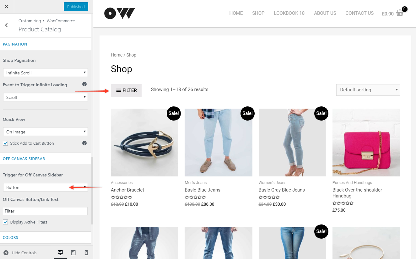 Off Canvas Sidebar for WooCommerce Shop Page | Astra