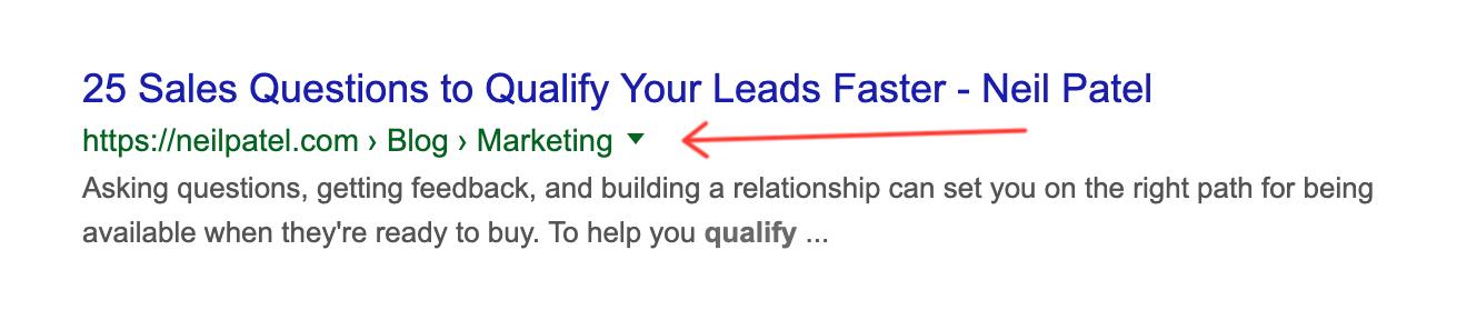 Breadcrumbs in google search