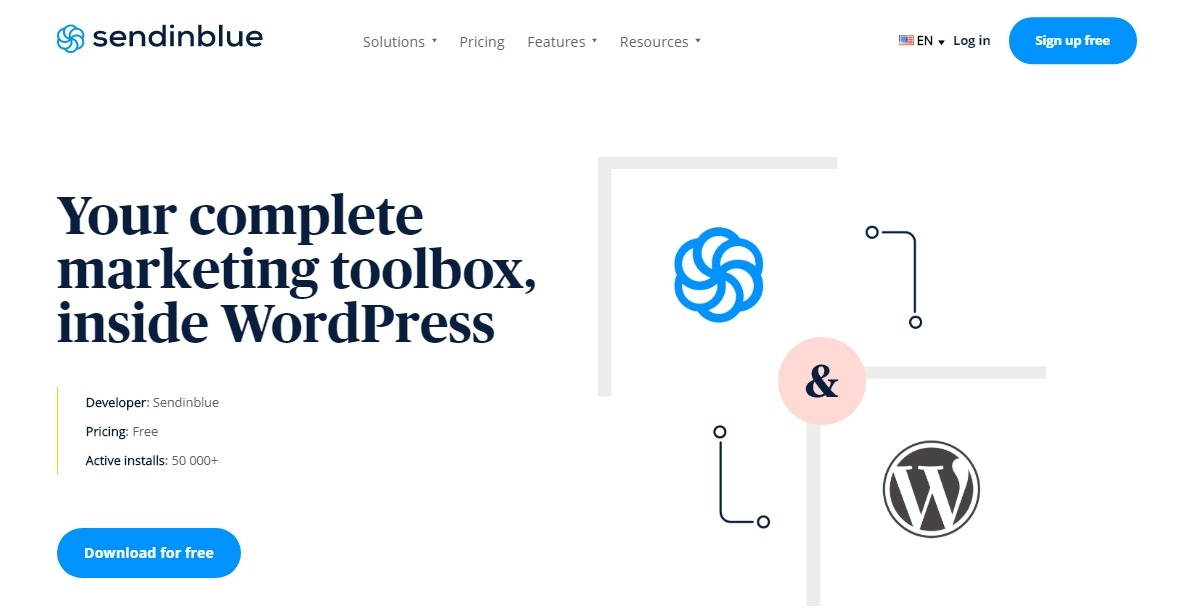 Sendinblue's WordPress email plugin - homepage