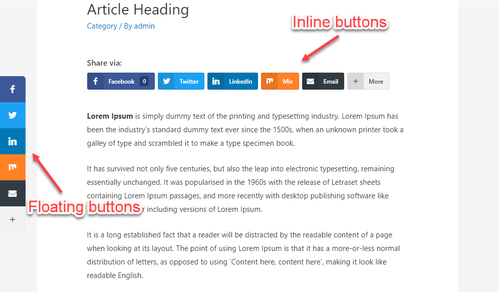 Floating and Inline Social Share Buttons
