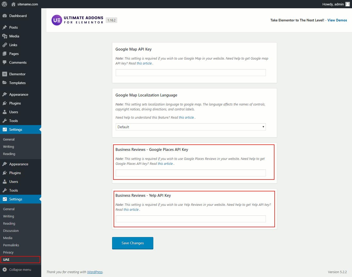UAE Review API key
