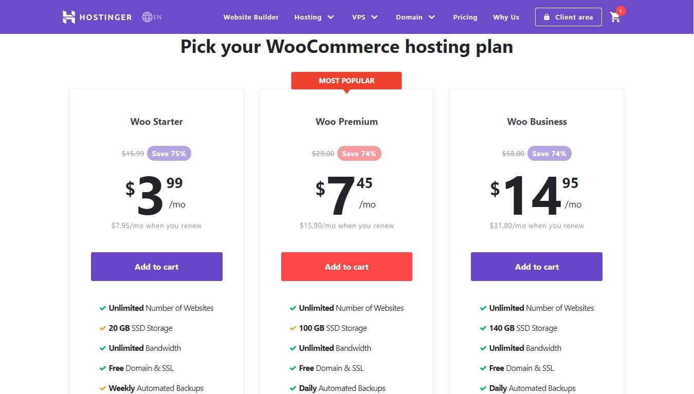 Hostinger WooCommerce hosting pricing table