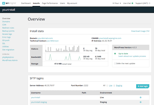 WP Engine-dashboard overview