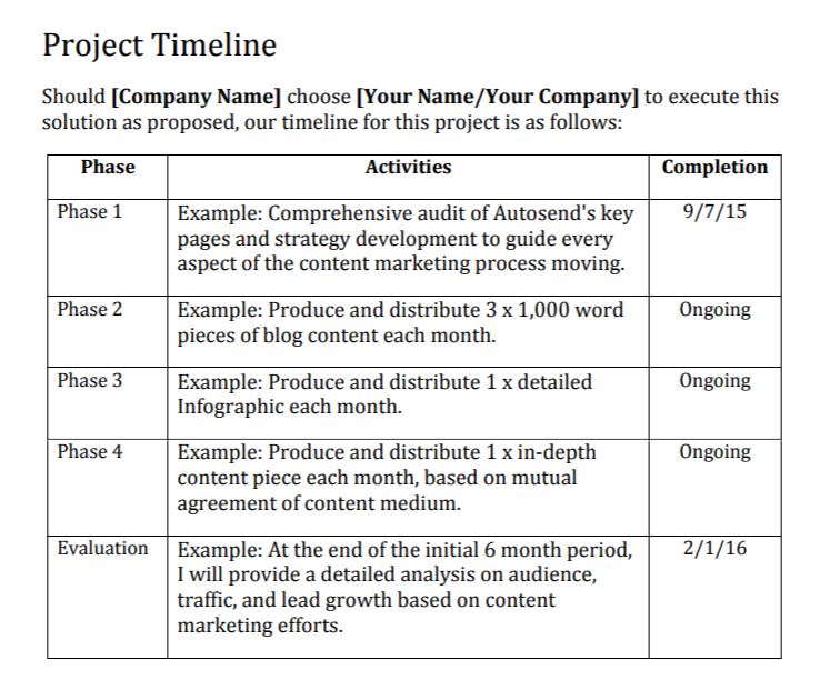 Example of Project Timeline