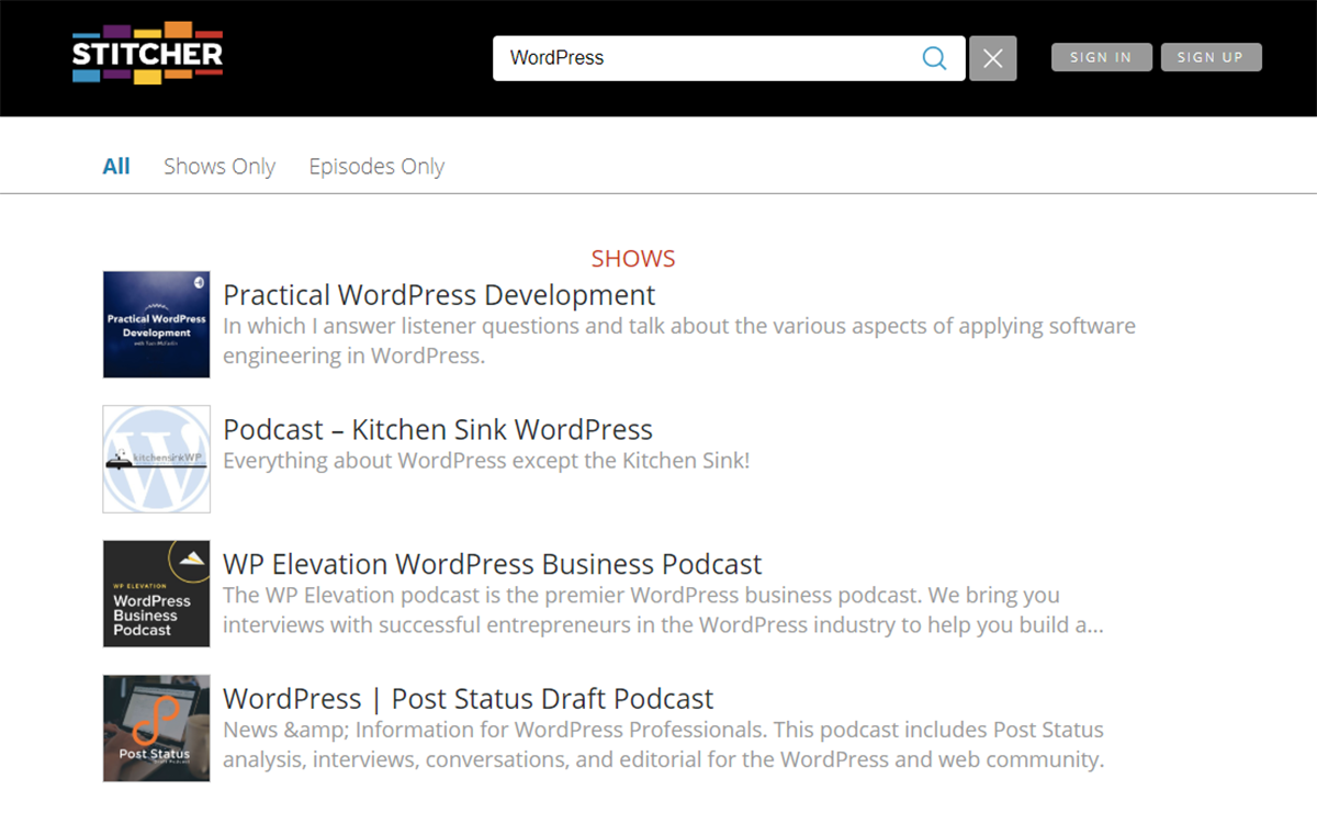 WordPress search on Stitcher