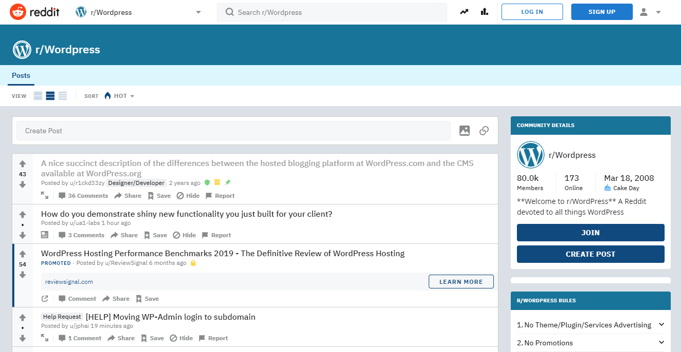 WordPress search on Reddit