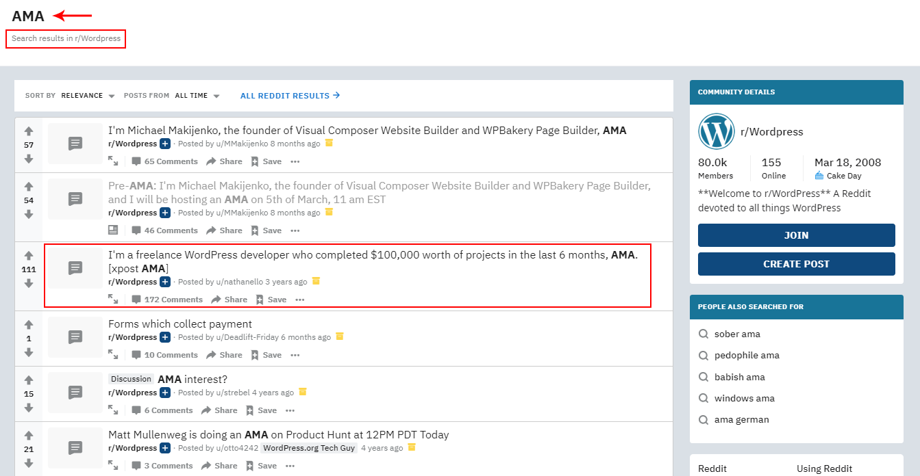 AMA search under WordPress on Reddit