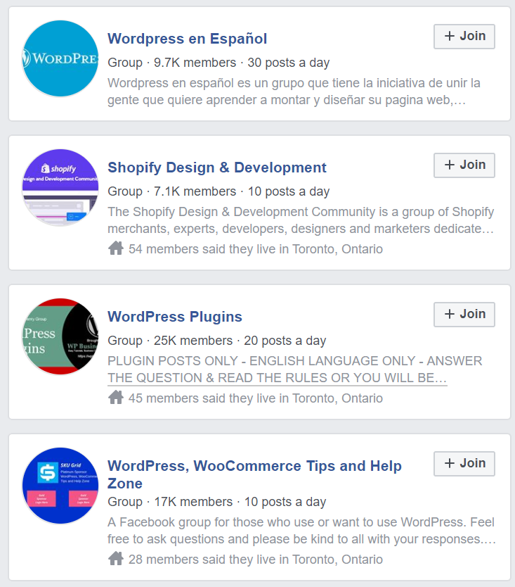 WordPress Community - Facebook Groups