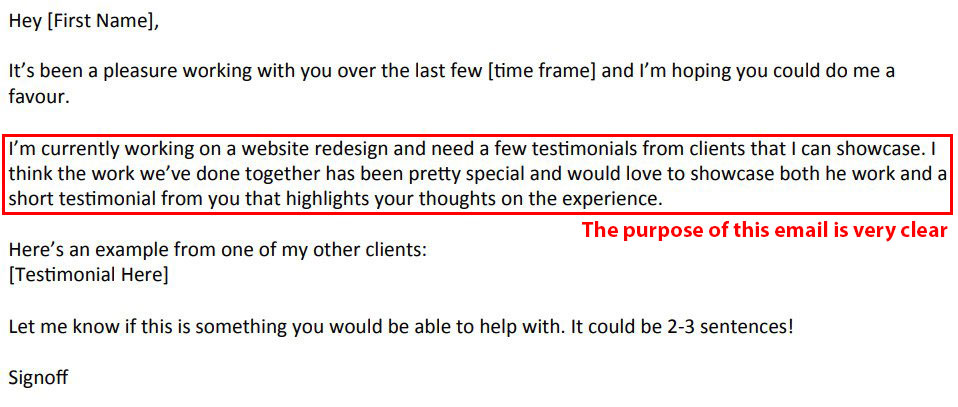 Requesting for testimonial through mail.