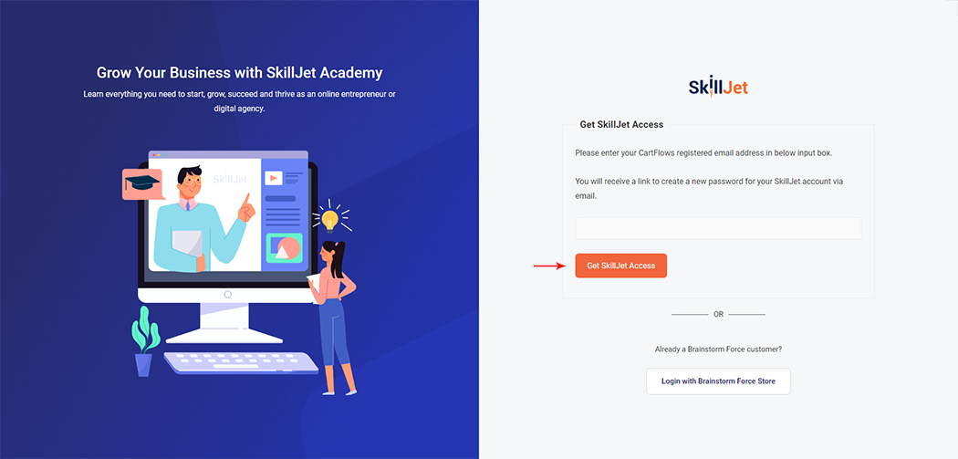 SkillJet access page for CartFlows users