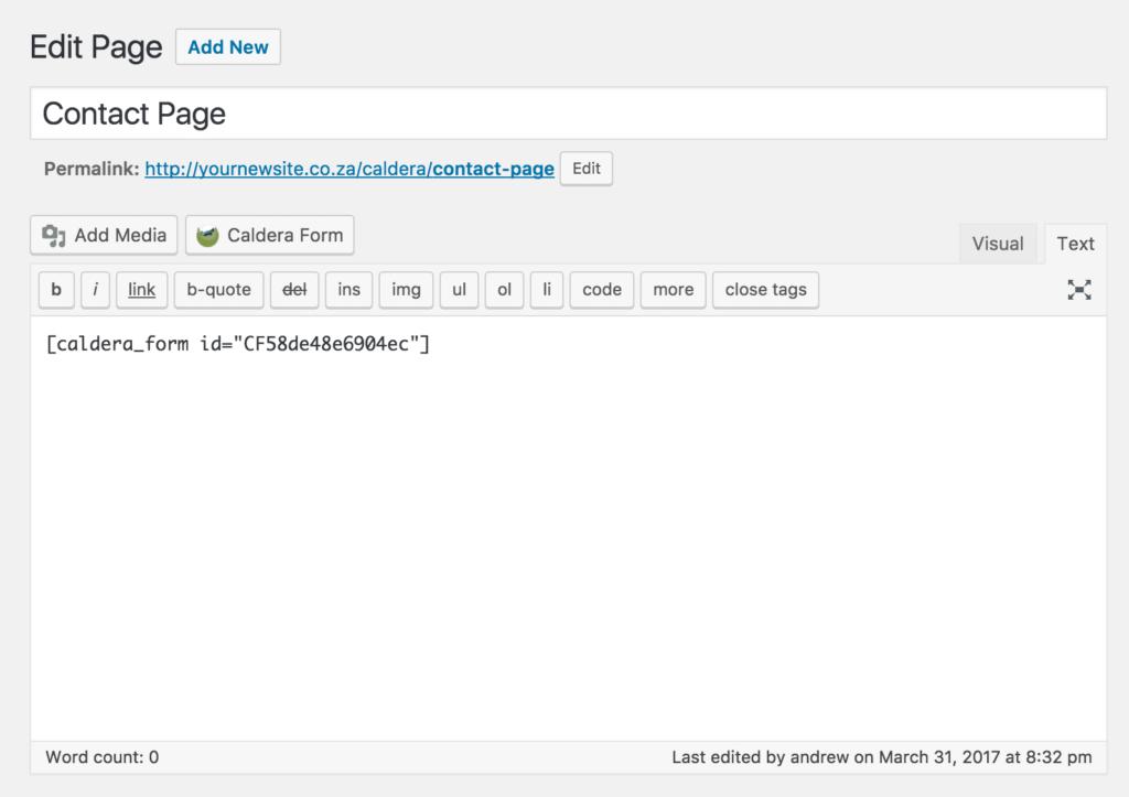 Caldera Forms page shortcode