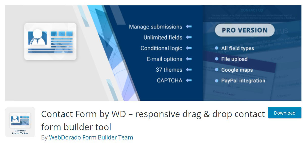 Contact form by wd plugin image