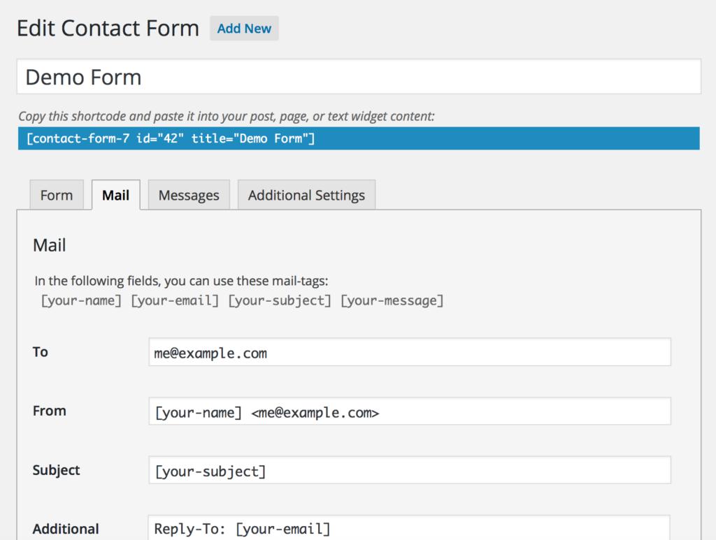 Contact form 7 Editor Screen