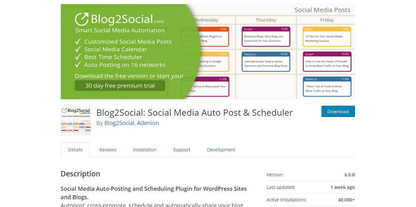 Social Media Plugins - Blog2Social