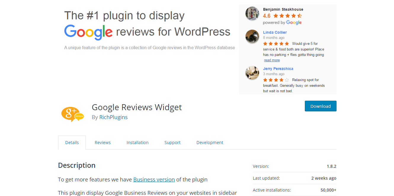 Social Media Plugins - Google Reviews Widget
