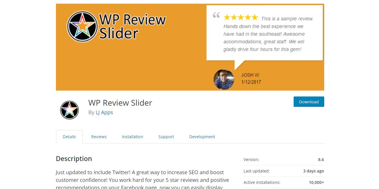 Social Media Plugins - WP Review Slider