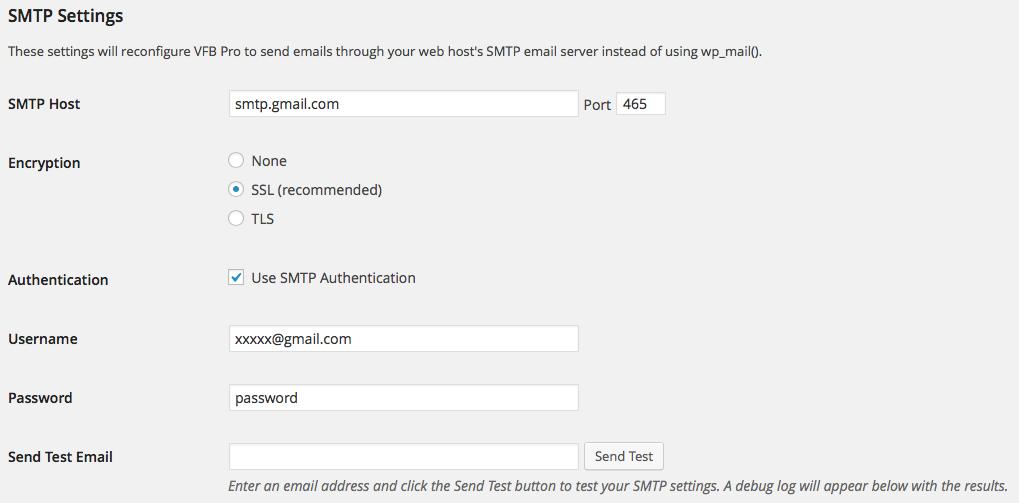 Visual Form Builder SMTP