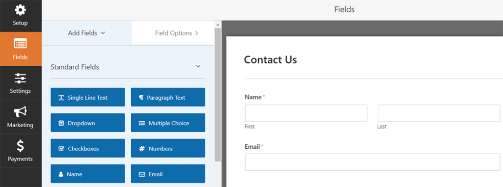 WP Forms available fields