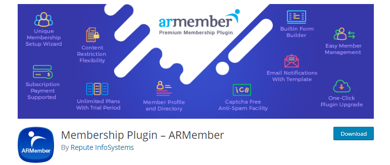 ARMember plugin download page