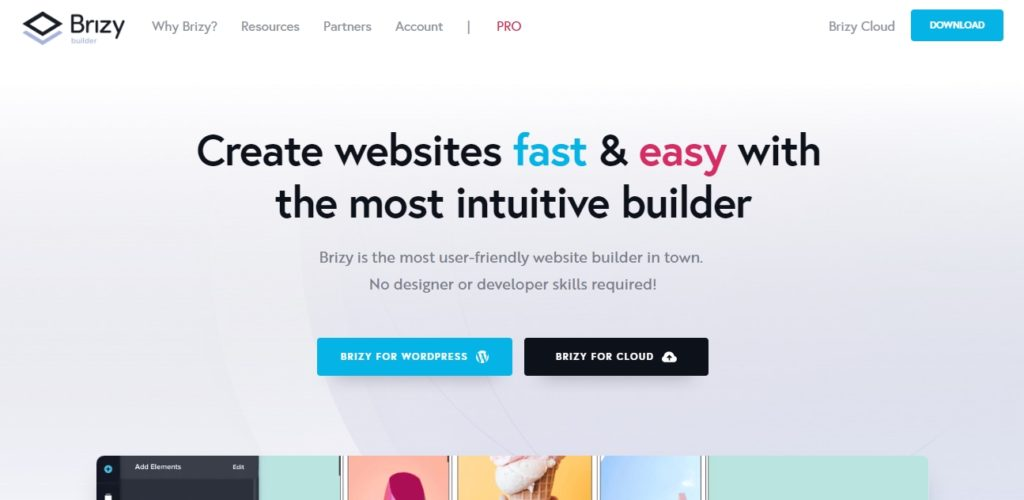Brizy Homepage Screenshot
