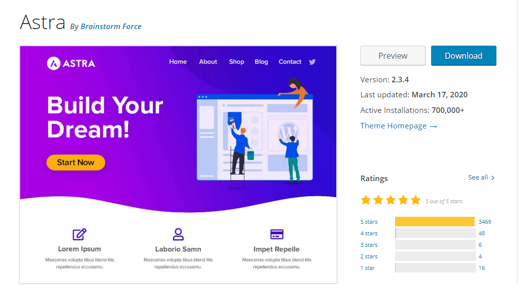 Astra - WordPress Download Page