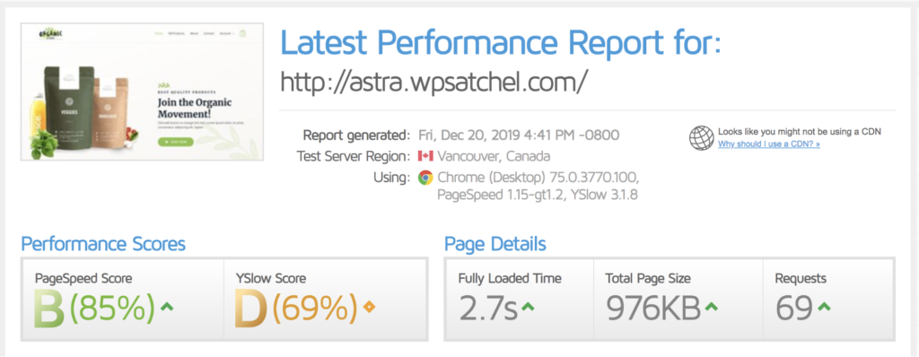 cache enabler speedtest results