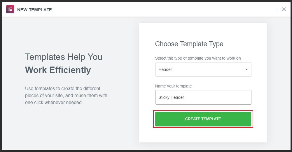 Create Template Settings in Elementor
