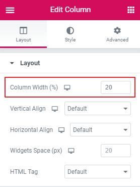 Elementor Edit Column Settings