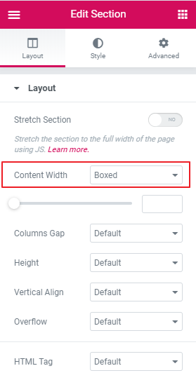 Elementor Edit Section Content width Settings