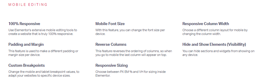 elementor mobile editing features including responsiveness