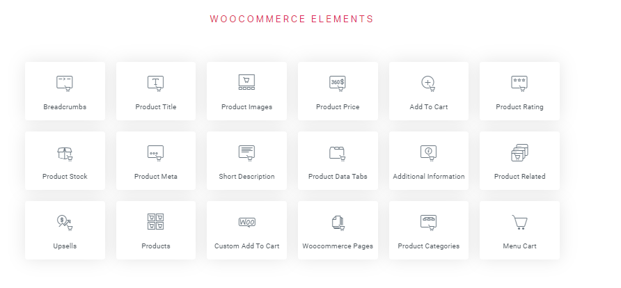 elementor woocommerce elements list