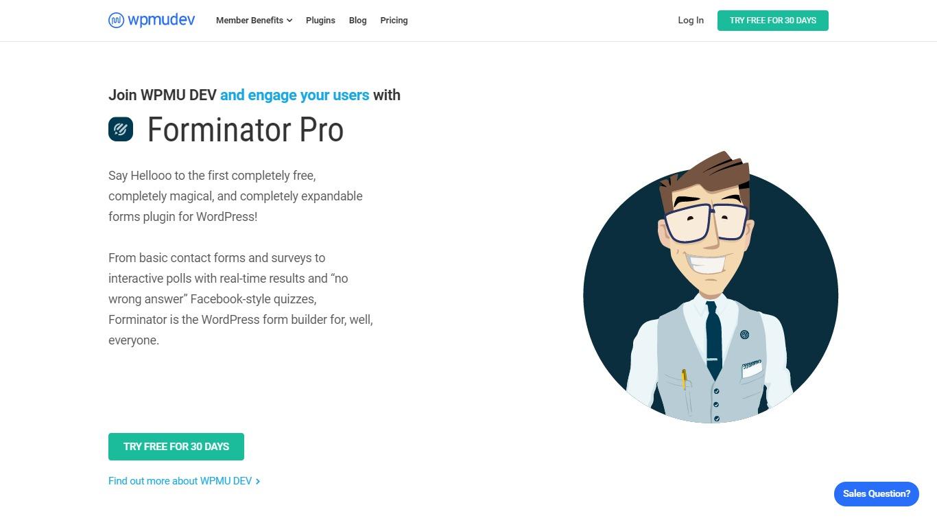 Forminator Pro homepage screenshot